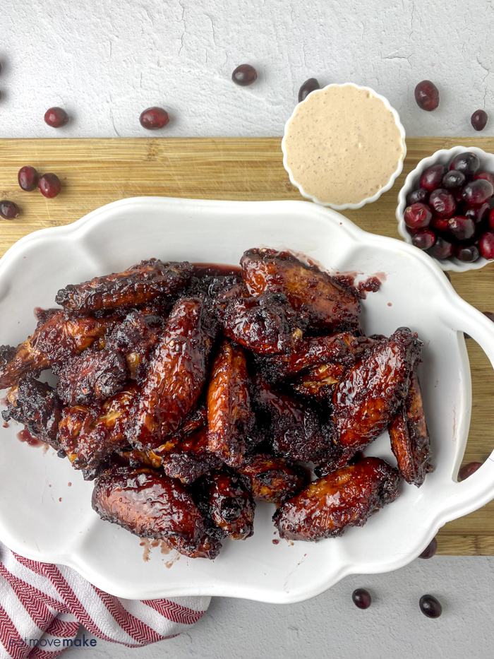 cranberry wings on platter