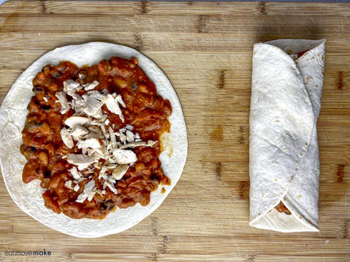 filled and folded enchiladas
