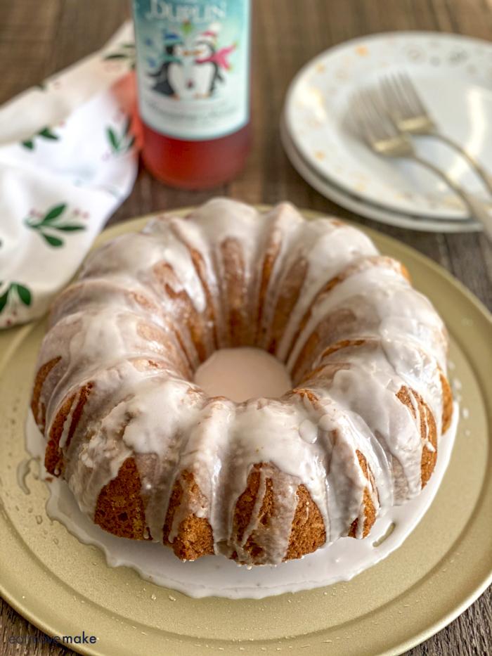 glazed bundt cake on table