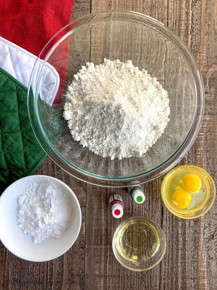 ingredients for Christmas crinkle cookies