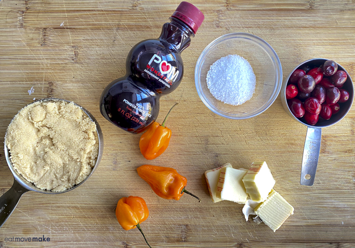 ingredients for cranberry habanero wing sauce