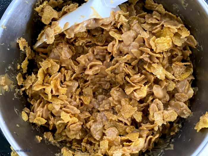 stirring cornflake mixture