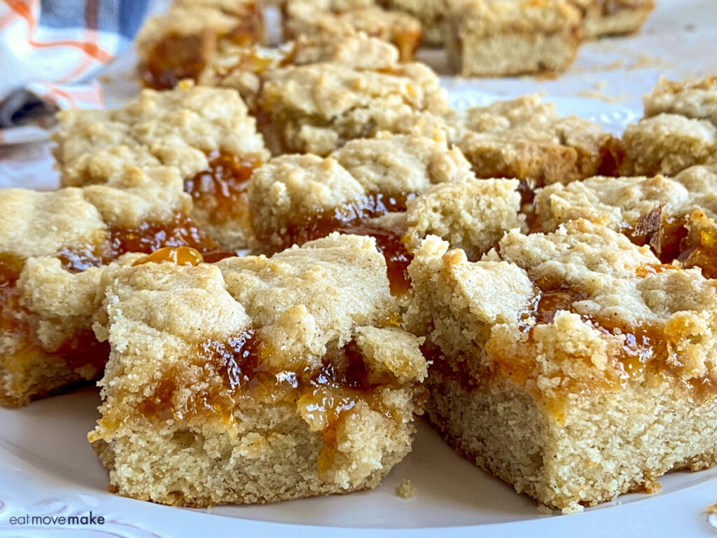 apricot coffee cake bars on plate