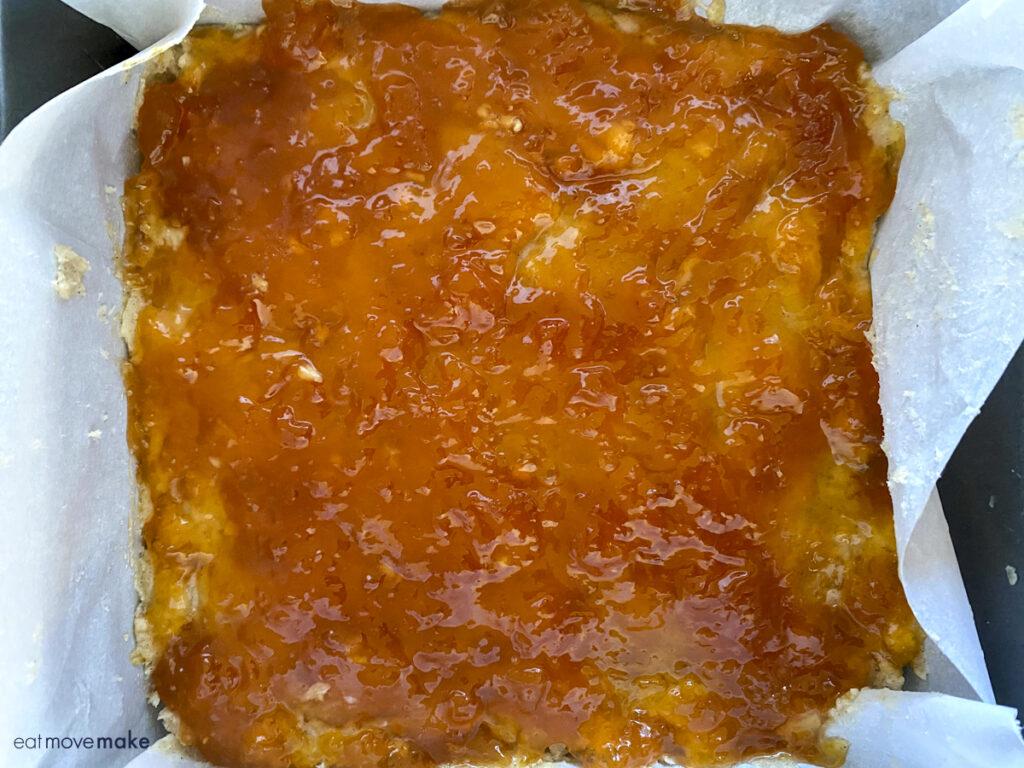 apricot jam on crust