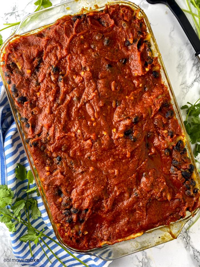 baked black bean spinach lasagna
