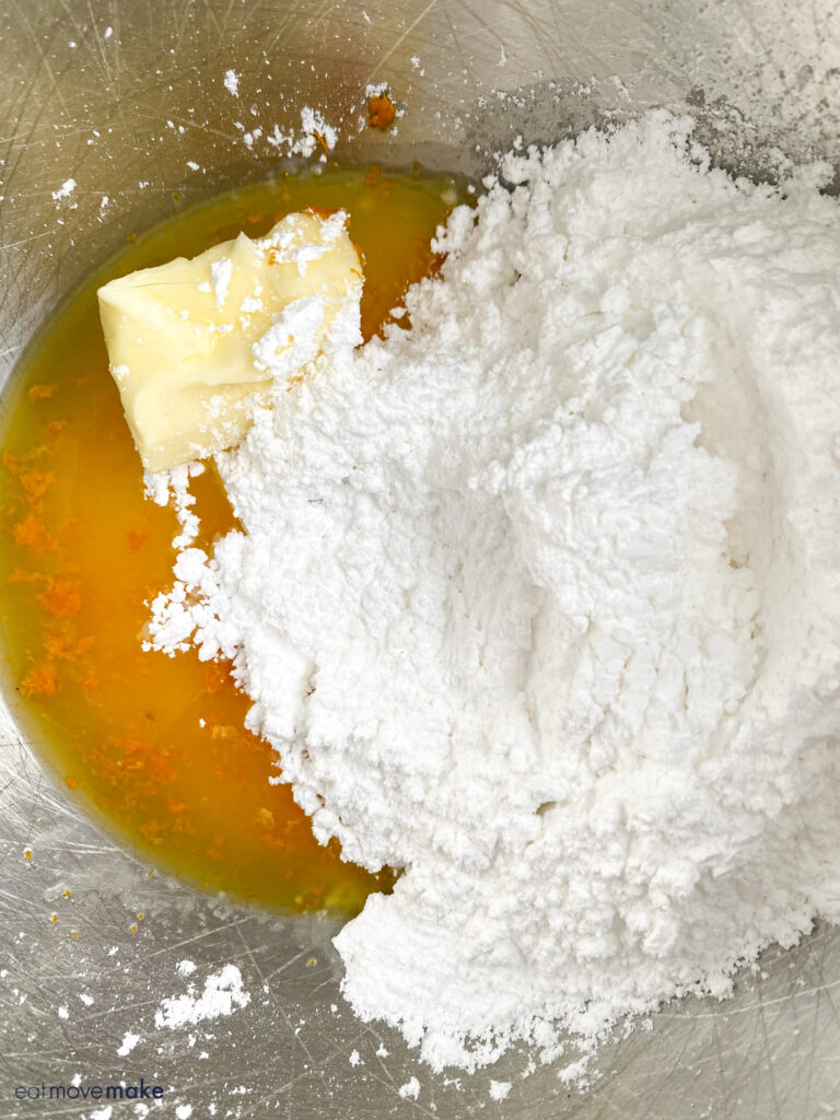 butter, sugar and egg in mixing bowl