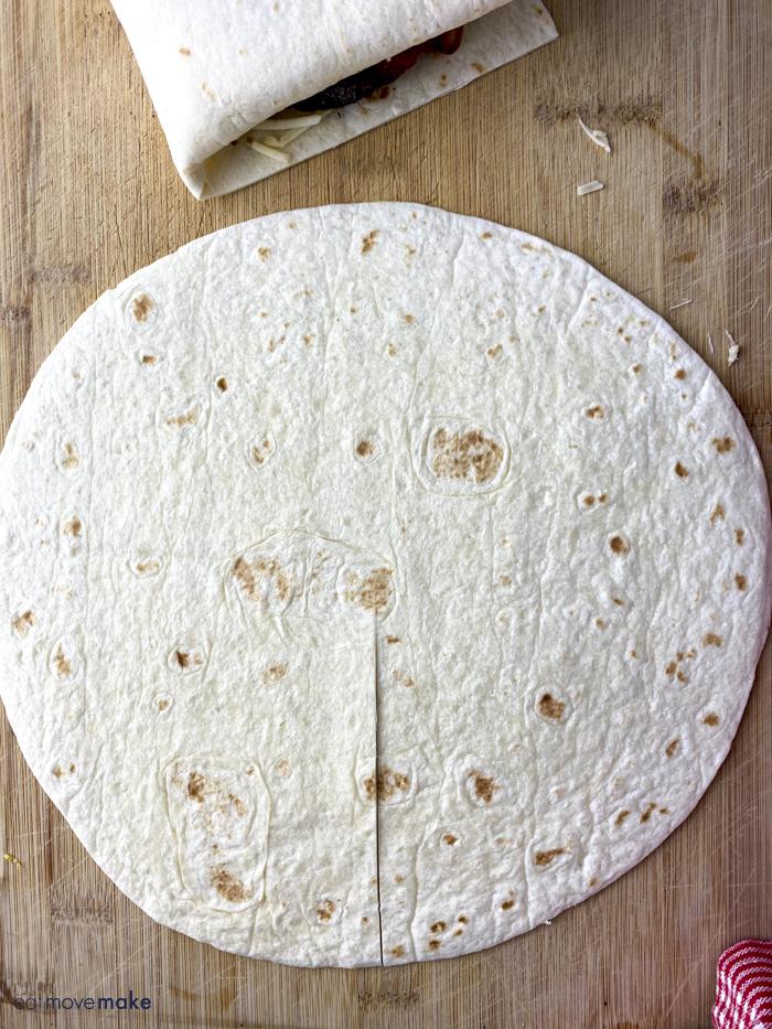 cut a slit in tortilla
