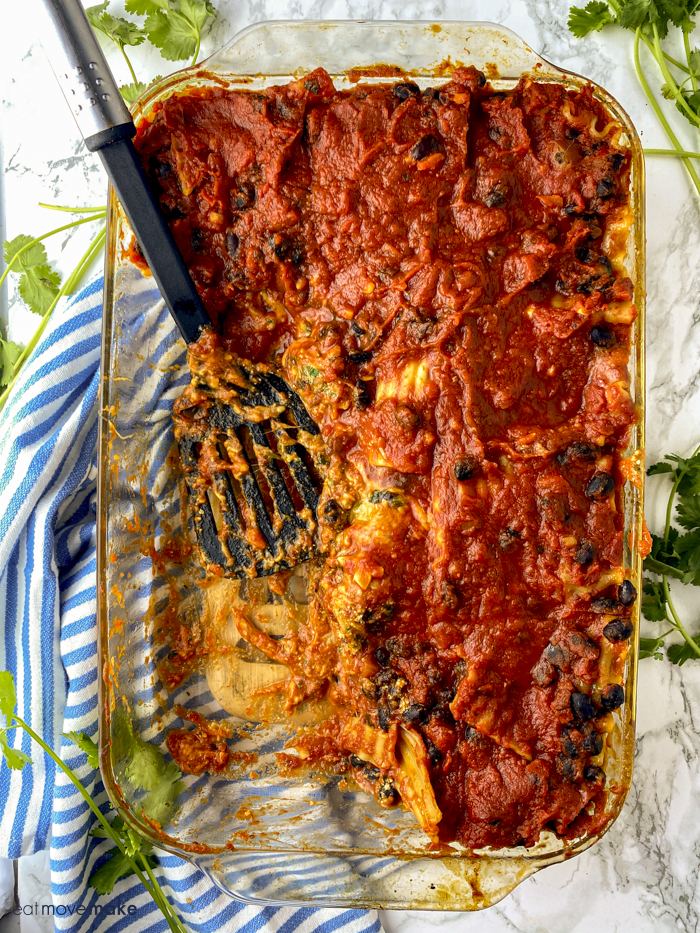 dish of spinach lasagna with black beans