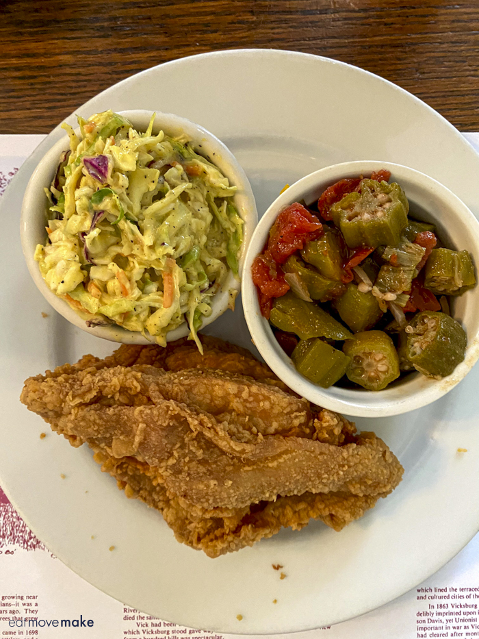 fried chicken, okra and coleslaw
