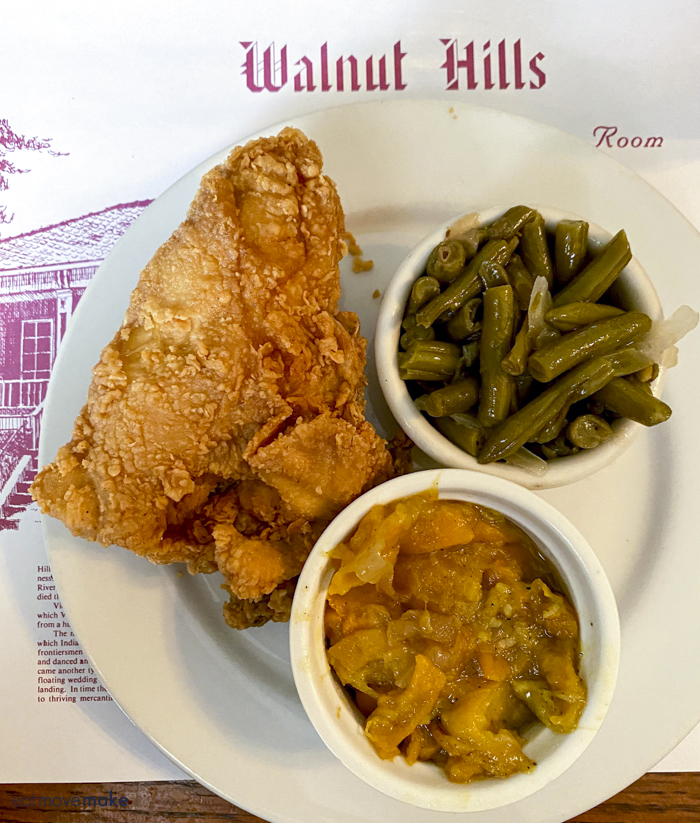 fried chicken, squash and beans