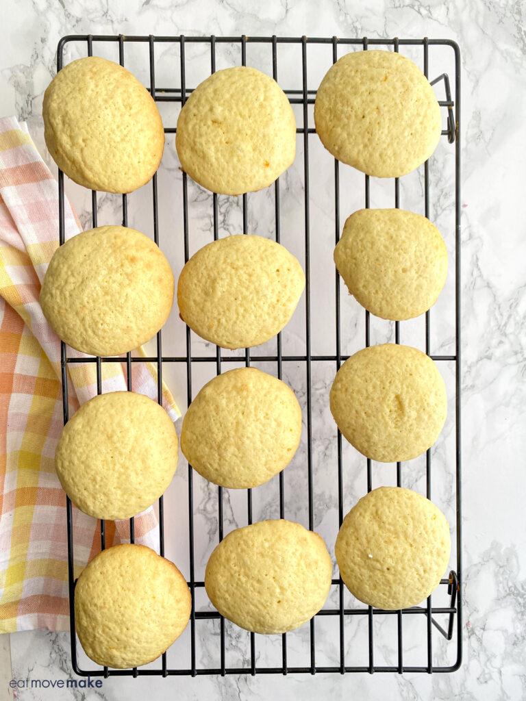 orange drop cookies cooling on rack
