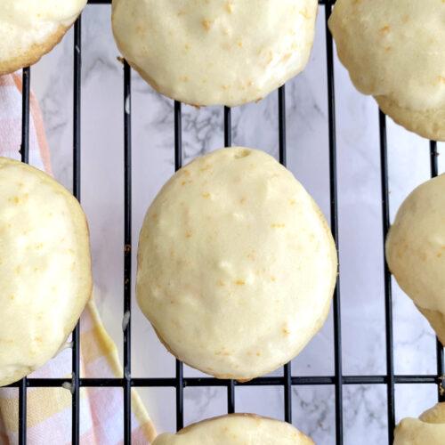 overhead shot of frosted orange drop cookies