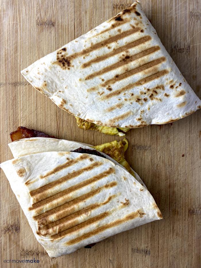 breakfast tortilla wraps on table