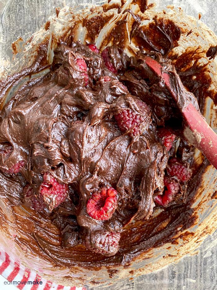 raspberry brownie batter
