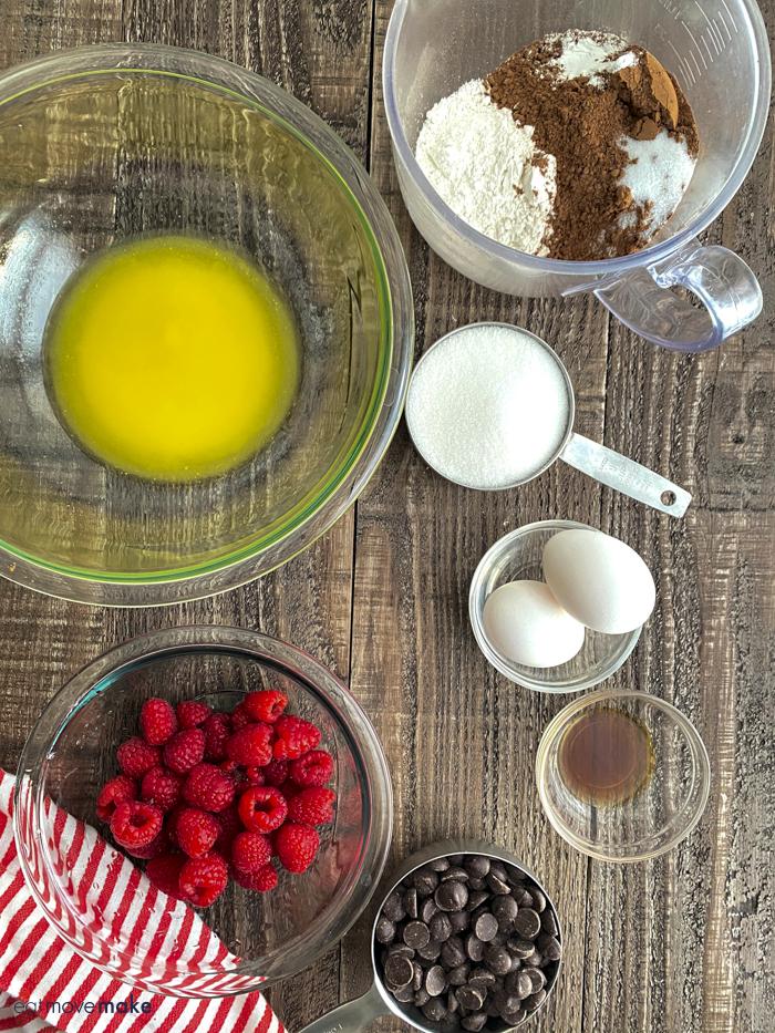 raspberry brownies ingredients