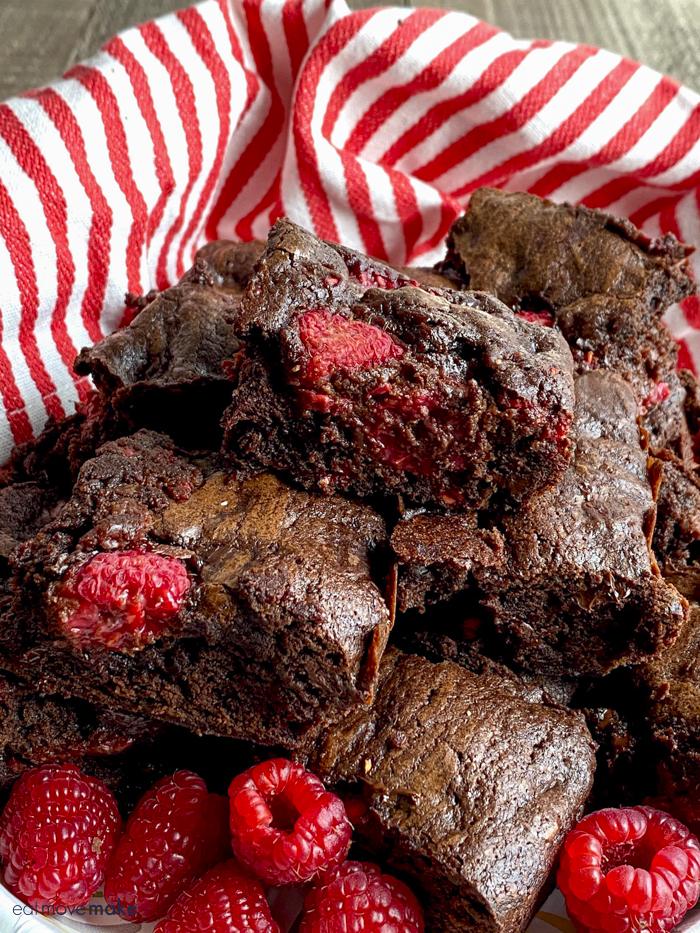 raspberry brownies on plate