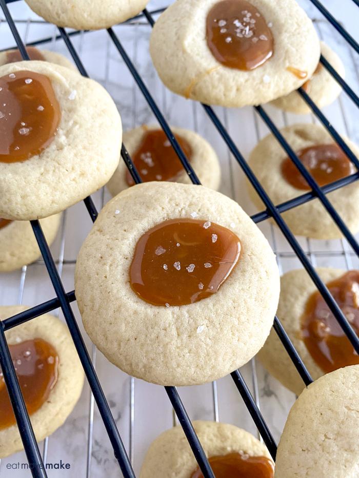 salted caramel thumbprints cookies