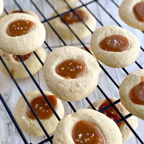 salted caramel thumbprints on cooling rack