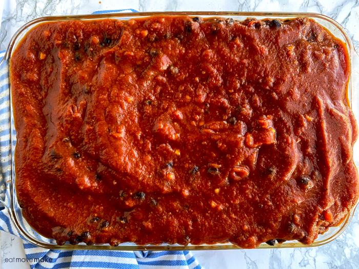 sauce and bean mixture