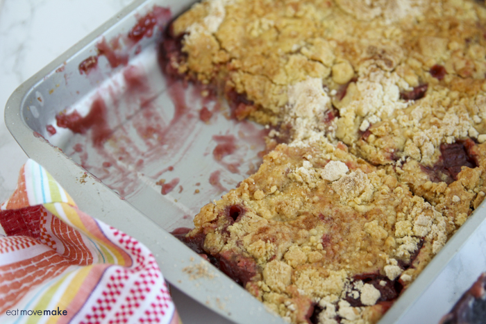 serving missing from pan of rhubarb and black cherry dump cake