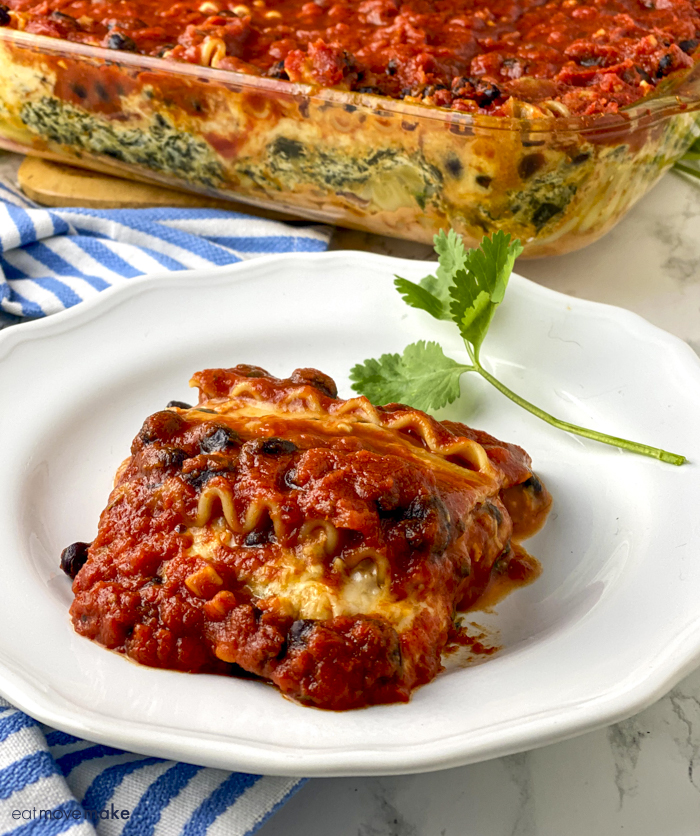 spinach black bean lasagna slice on plate
