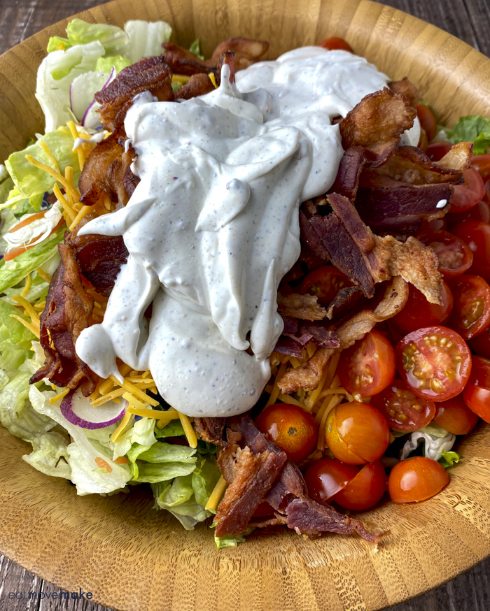 add dressing to BLT salad