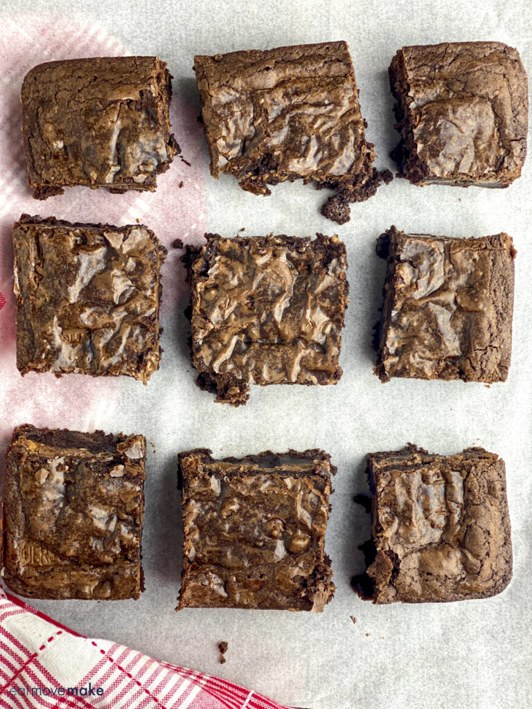 candy bar brownies on parchment paper