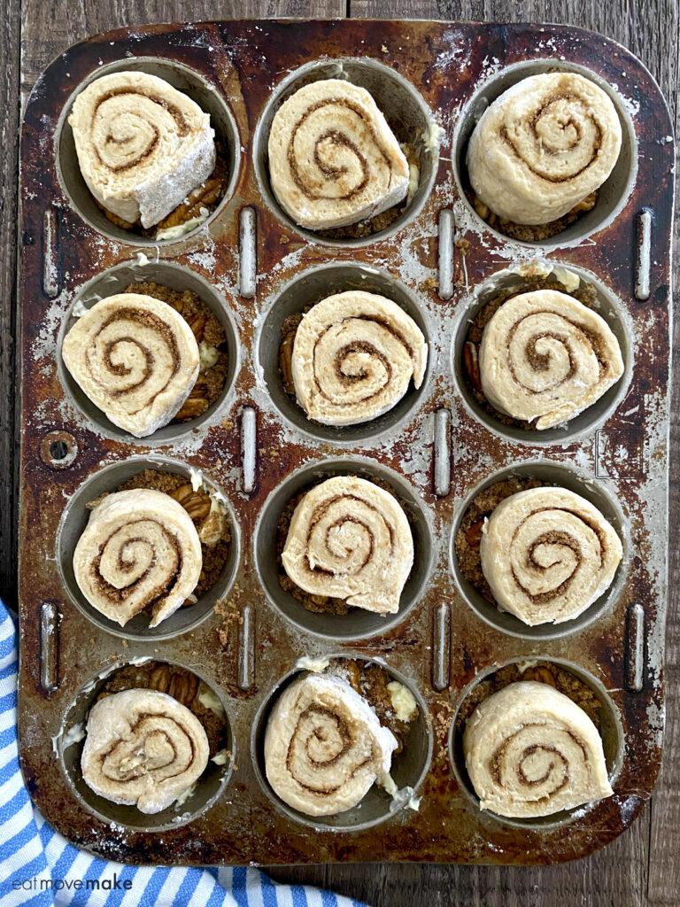pinwheels on top of pecan butter mix