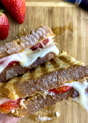 stacked strawberry grilled cheese panini