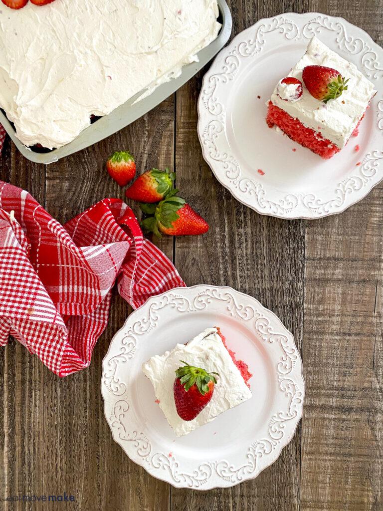strawberry jello cake on plates