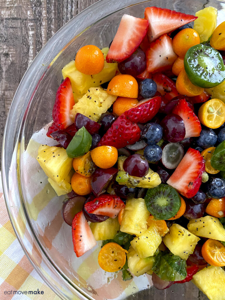 colorful fruit salad with honey lime dressing