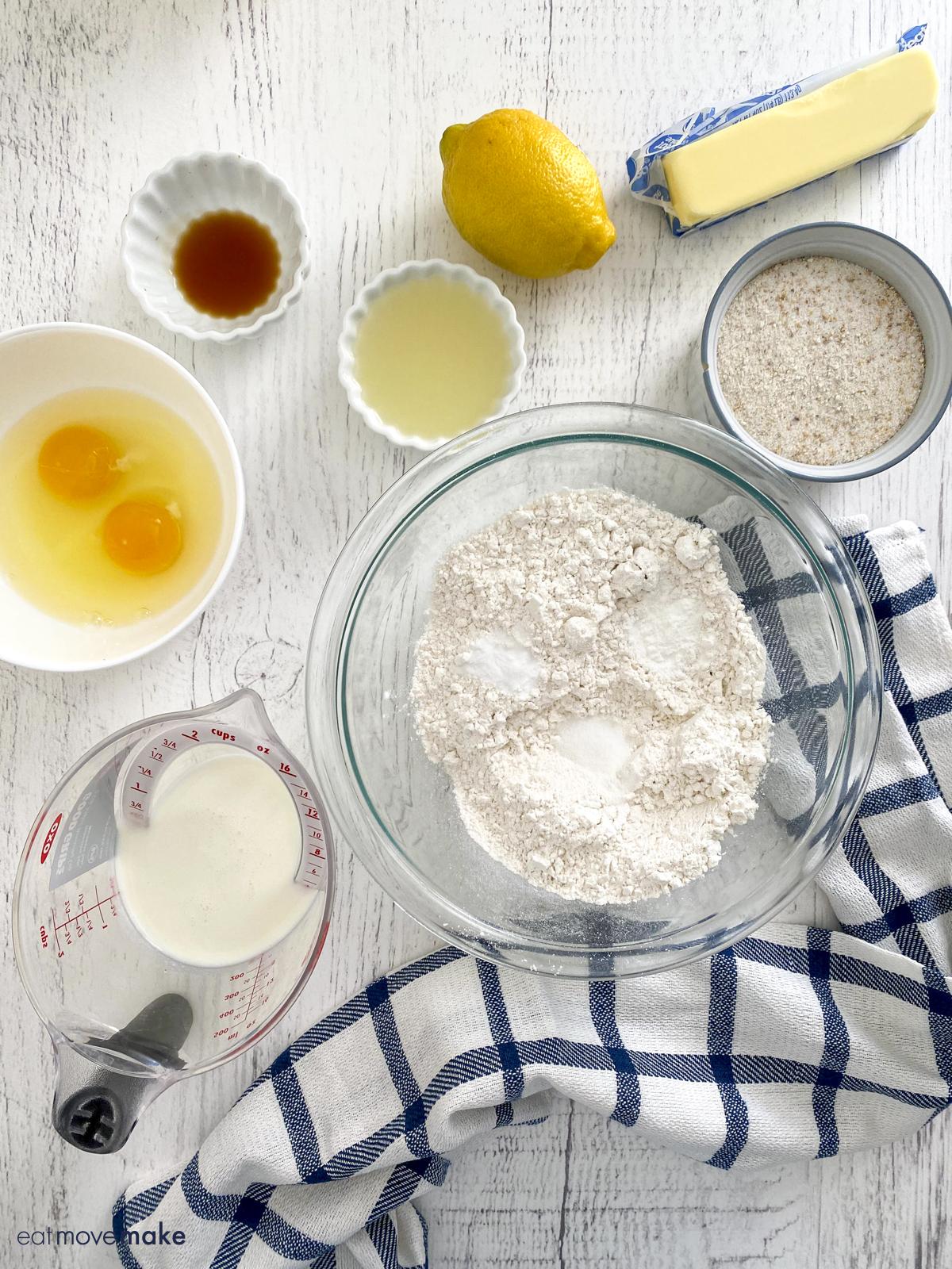 ingredients for lavender lemon bread