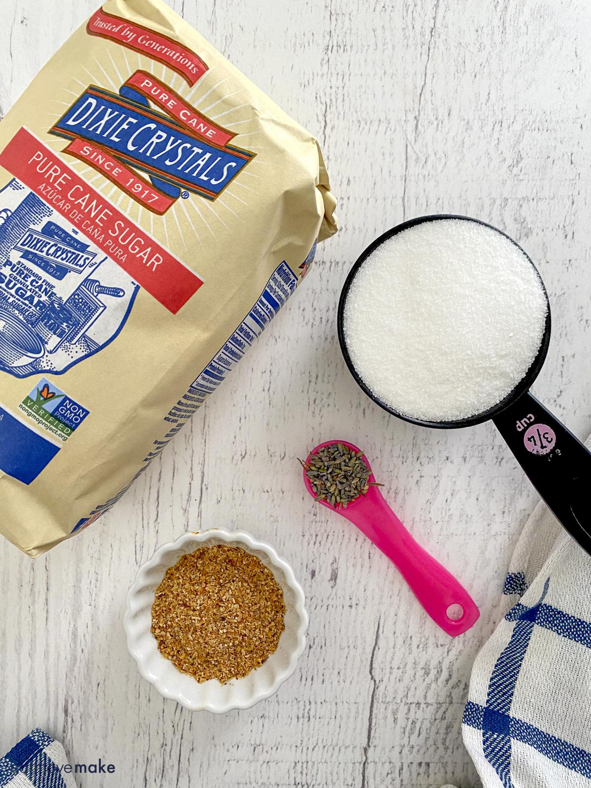 ingredients for lavender sugar