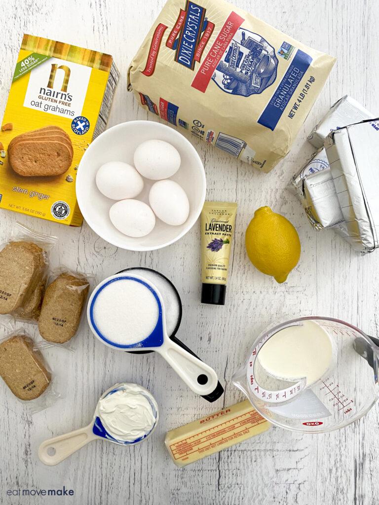 ingredients for lemon lavender cheesecake