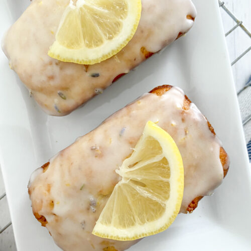 mini glazed lavender lemon bread