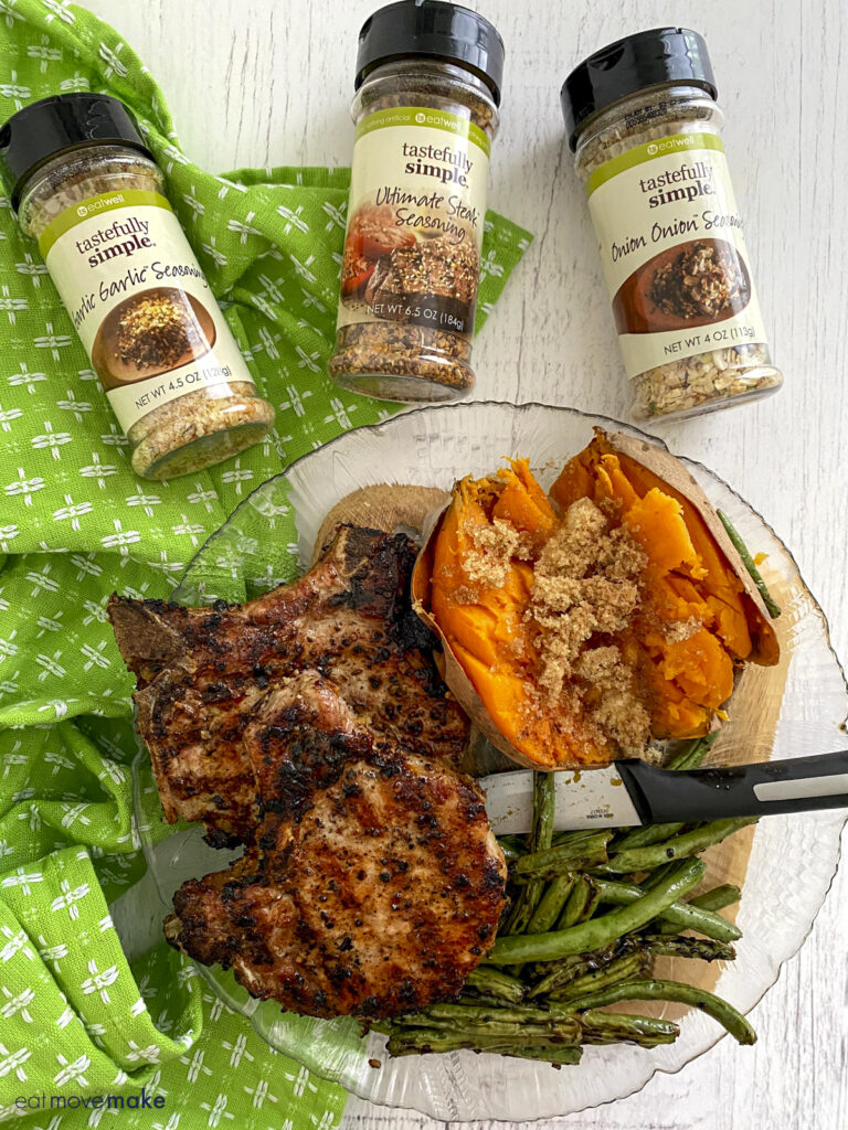 grilled pork chops with Tastefully Simple products