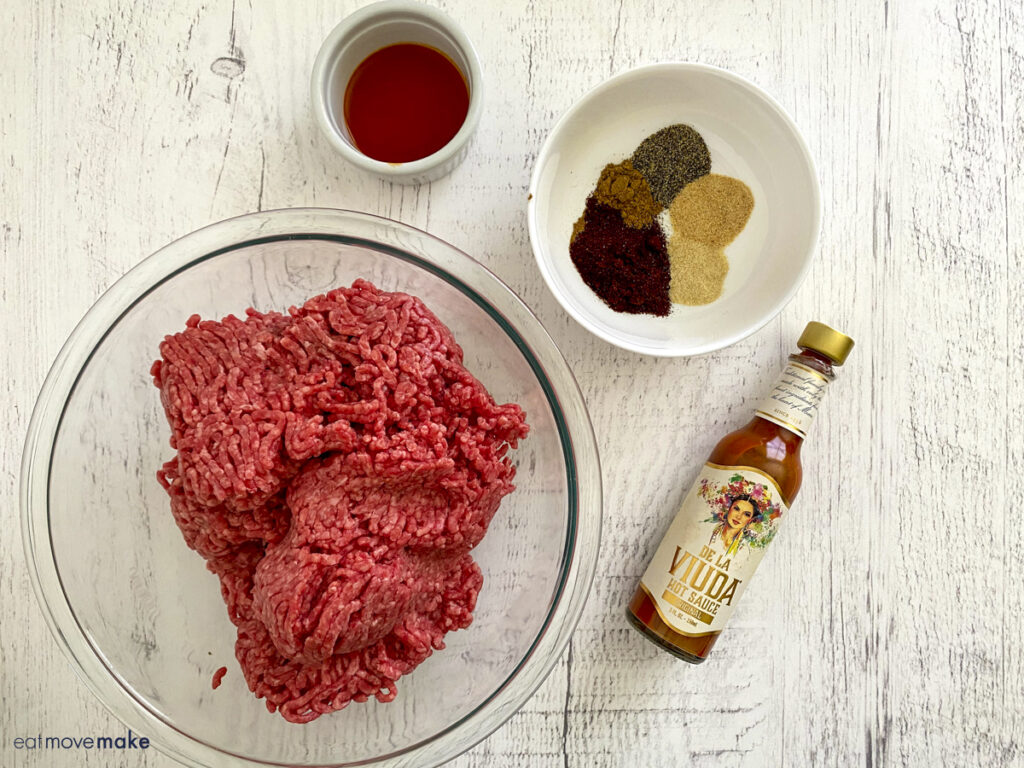 ingredients for spicy burgers