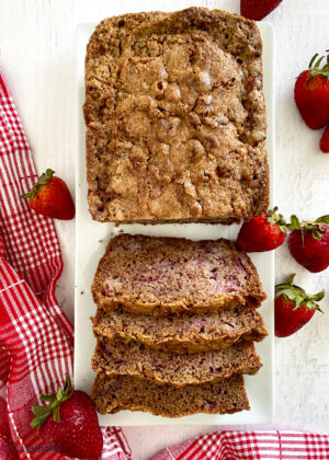 strawberry bread slices on tray