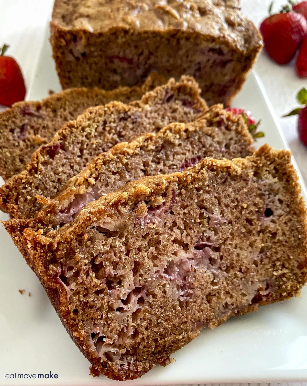 strawberry quick bread slices
