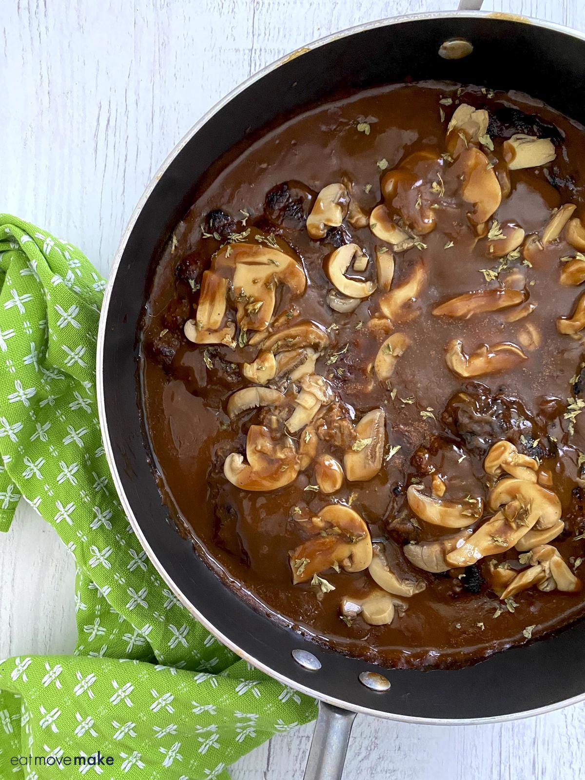 grilled salisbury steak with mushrooms