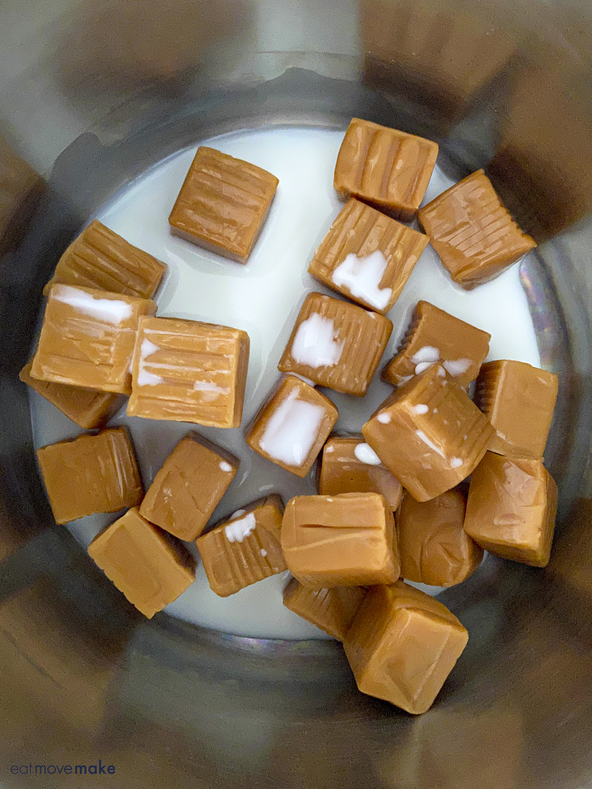 melting caramels in saucepan with milk