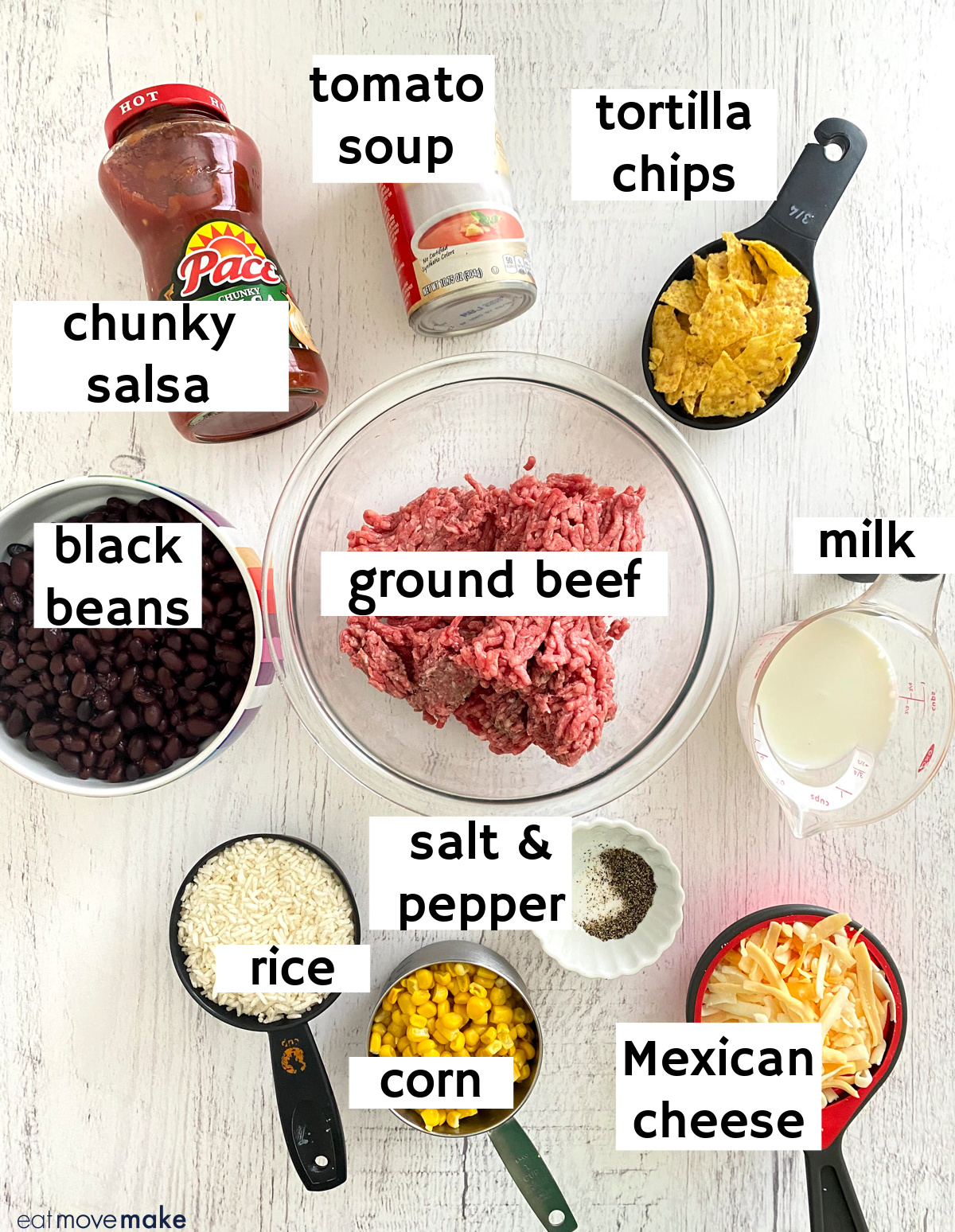 ingredients for taco casserole with labels