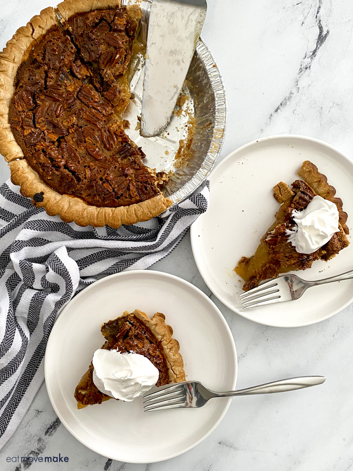 slices of pecan pudding pie on plates