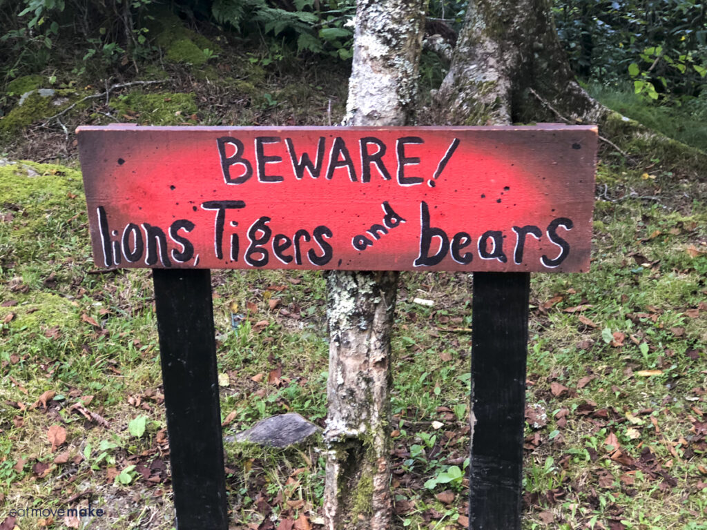 Beware Lions, Tigers and Bears sign
