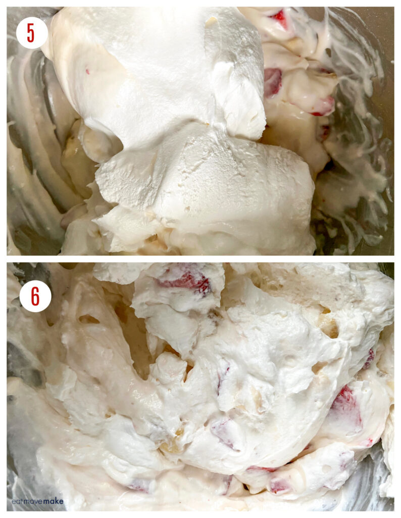 adding whipped topping to cheesecake mixture