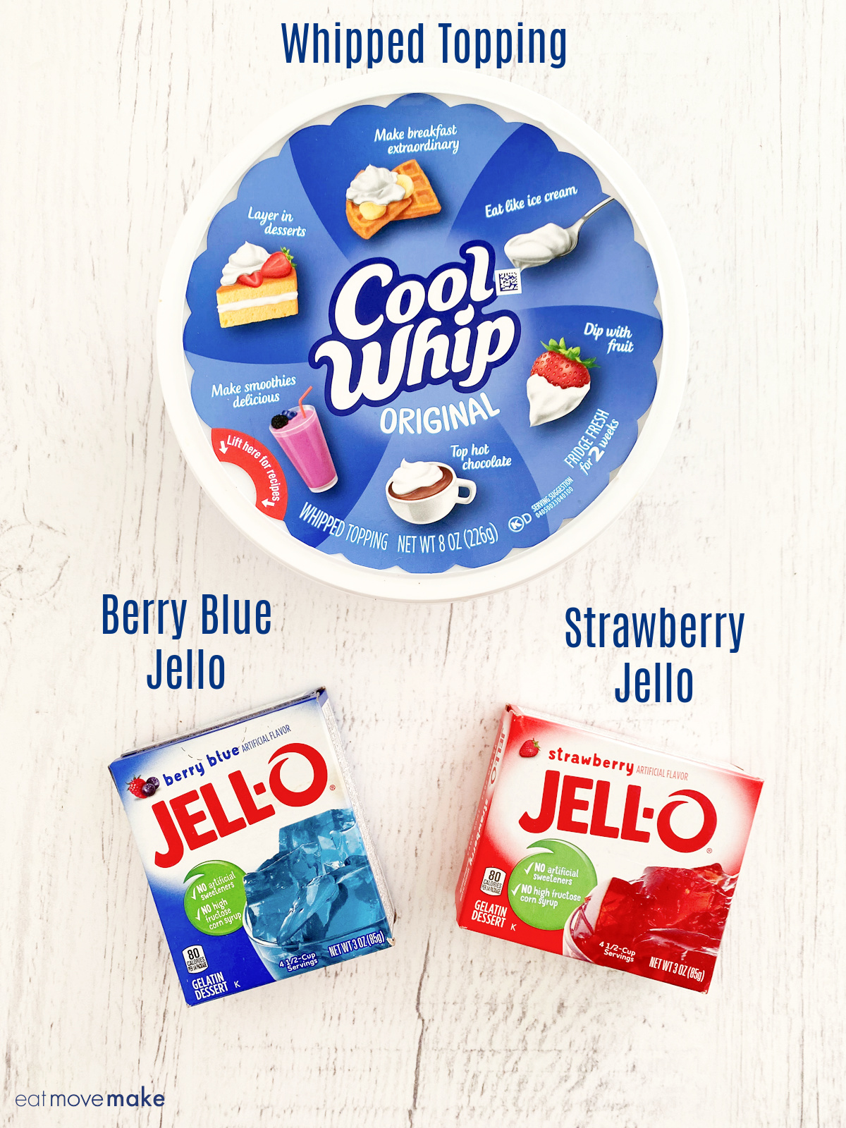 blue jello box, red jello box and cool whip tub on white table with labels
