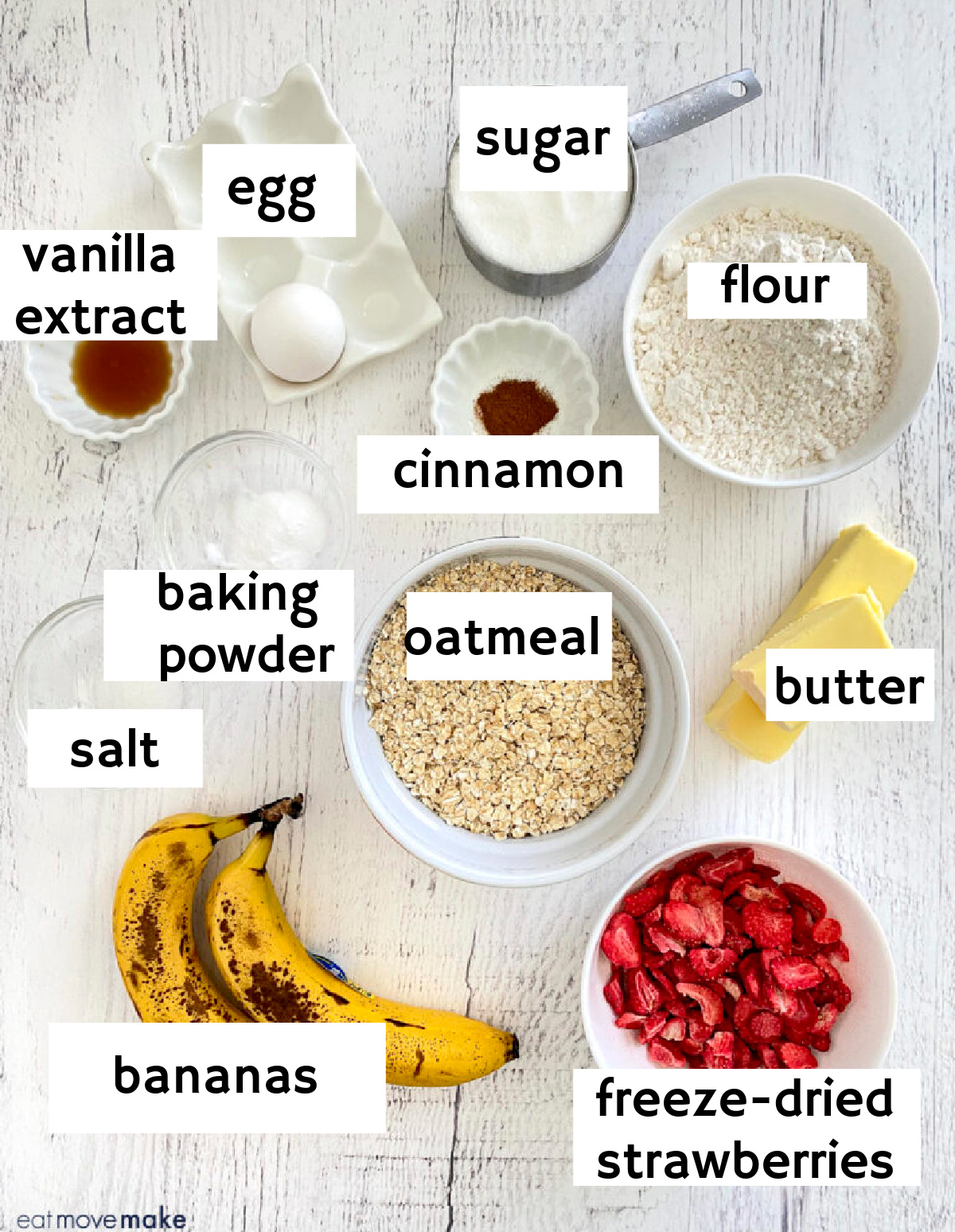labeled ingredients for strawberry banana oatmeal cookies