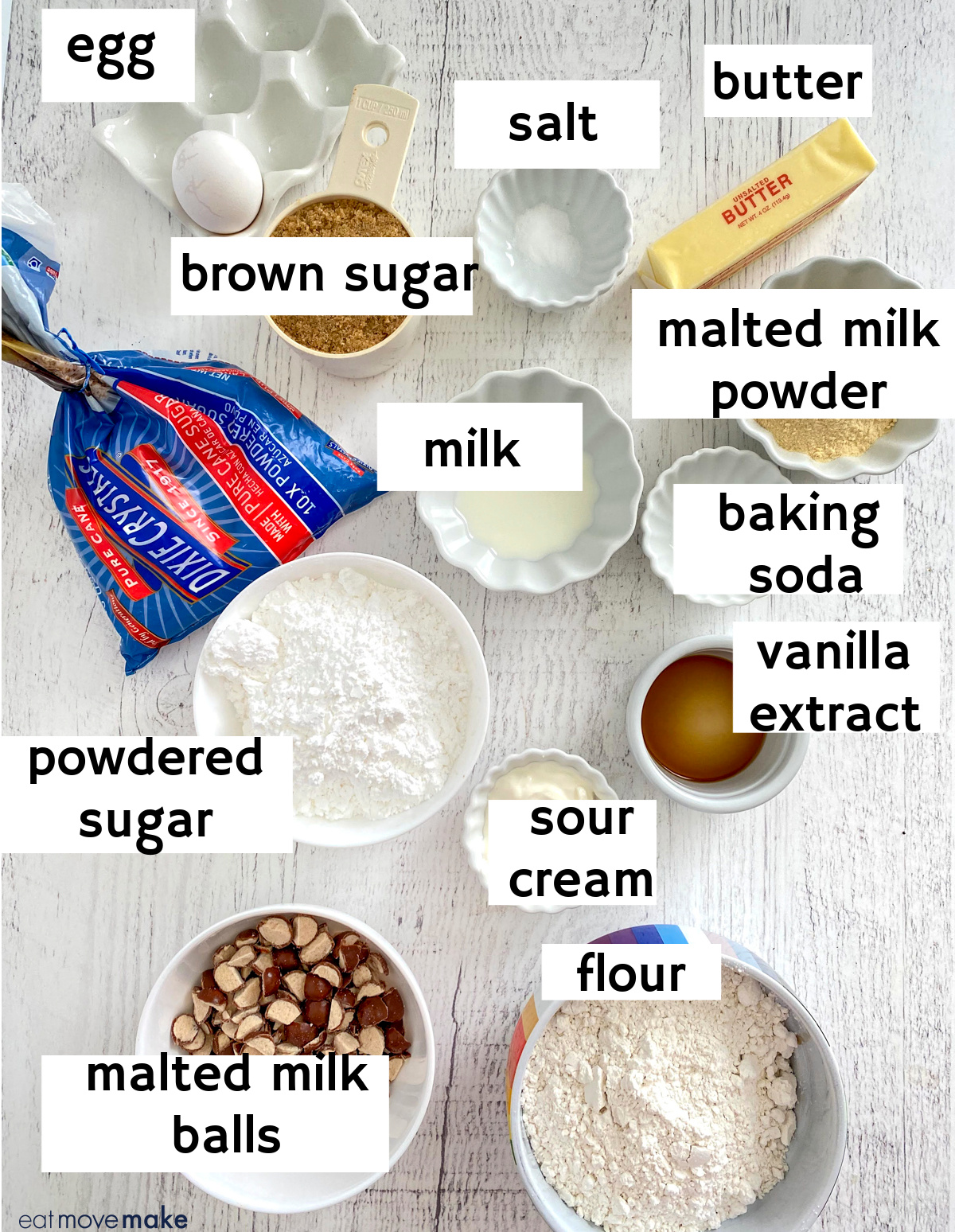 labeled ingredients for Whopper cookies with Dixie Crystals