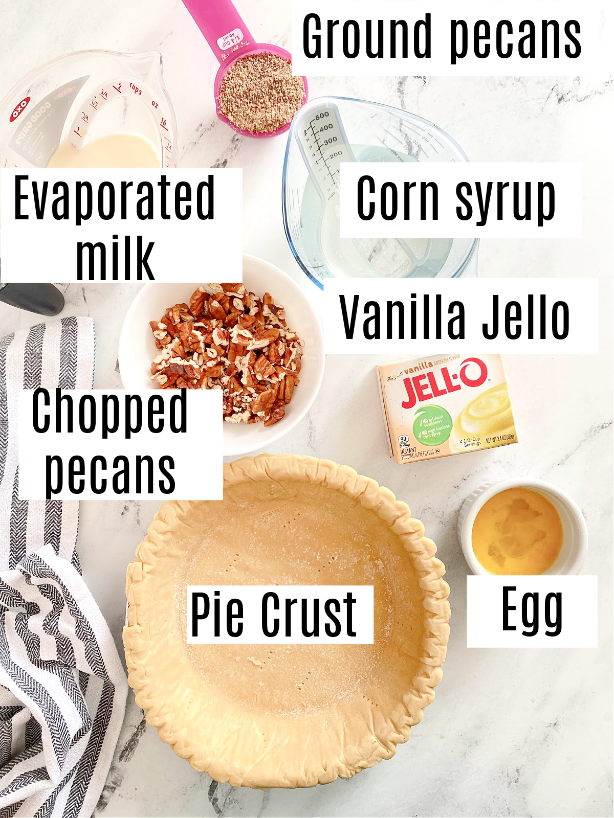 labeled ingredients for pecan pudding pie