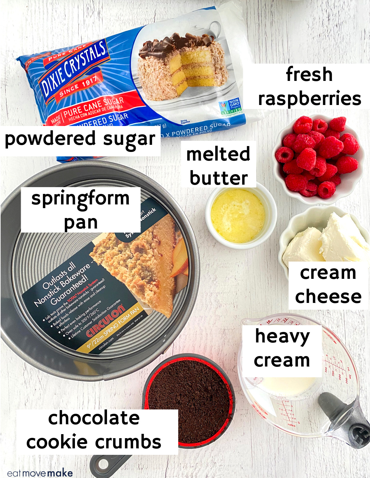 labeled ingredients with Dixie Crystals and Circulon